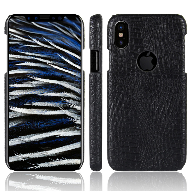 Crocodile PU Leather Hard Back Case Cover for iPhone X/XS - Black