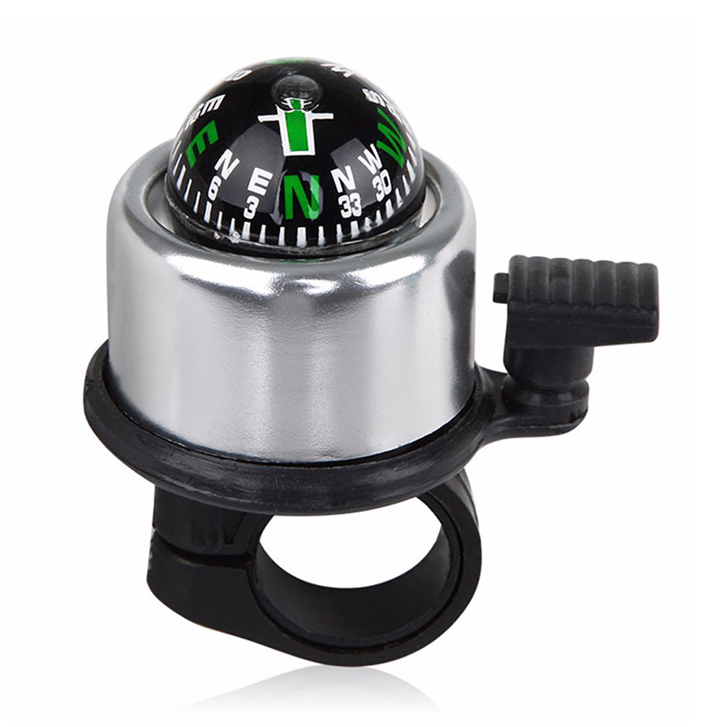Aluminum Alloy Bicycle Ring Bell with Compass Bike Handlebar Alarm Horn Mountain Accessories - Silver
