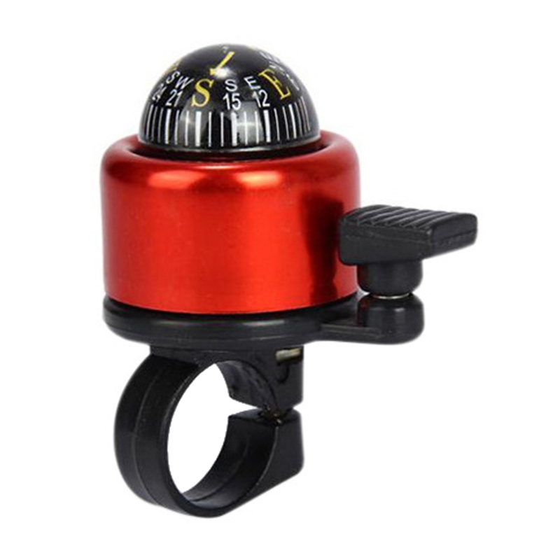 Aluminum Alloy Bicycle Ring Bell with Compass Bike Handlebar Alarm Horn Mountain Accessories - Red