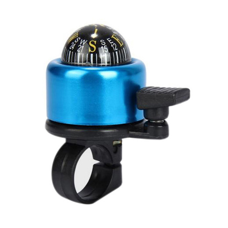 Aluminum Alloy Bicycle Ring Bell with Compass Bike Handlebar Alarm Horn Mountain Accessories - Blue