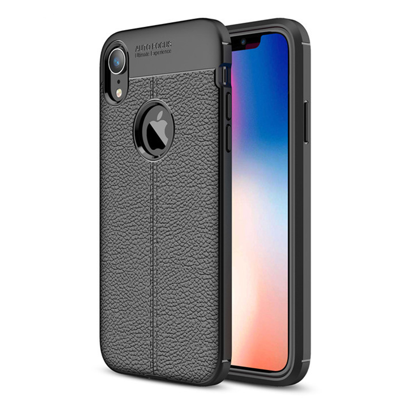 Slim Luxury Litchi Texture Soft Silicone TPU Shockproof Case Back Cover for iPhone XR - Black