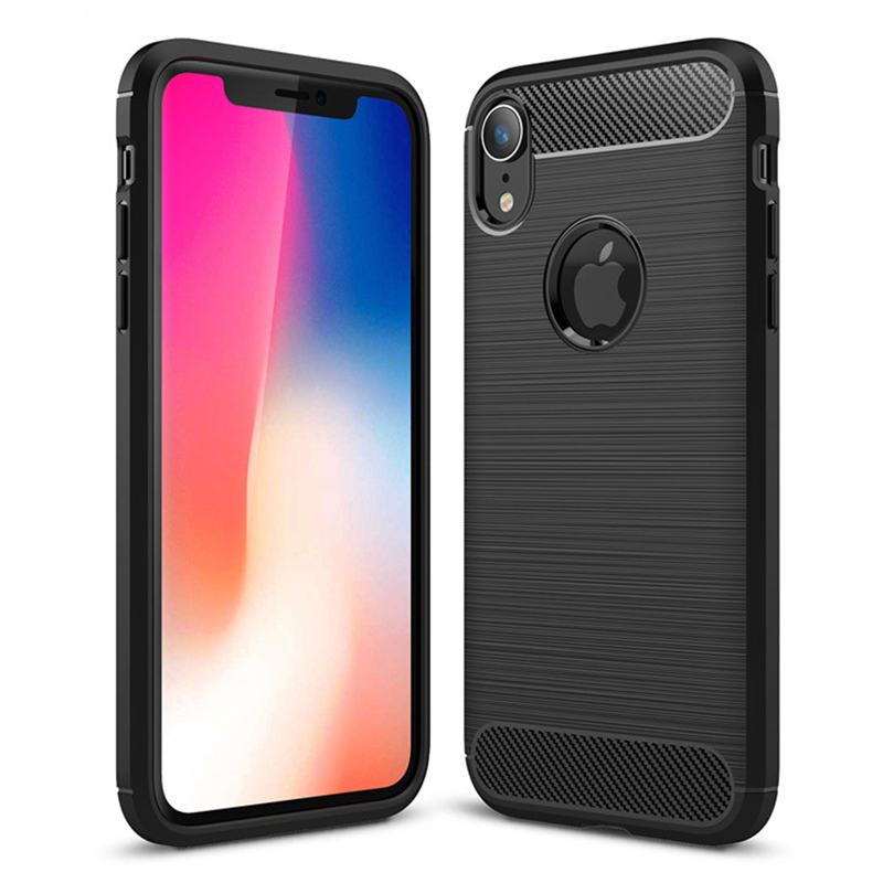 Shockproof TPU Carbon Fiber Tough Brushed Case Back Cover for iPhone XR - Black