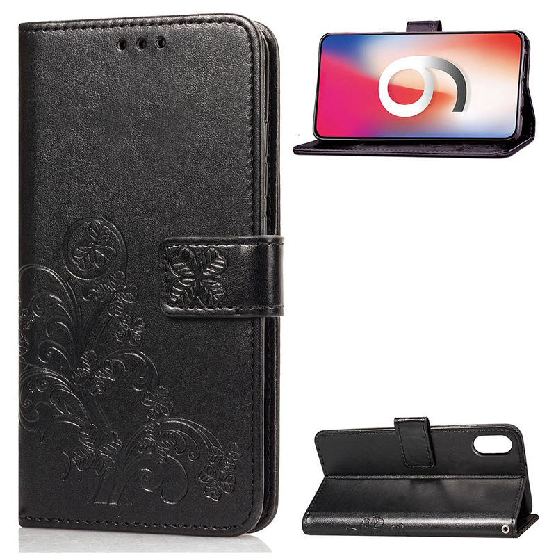 Four Leaf Clovers Flower Pattern PU Leather Wallet Case Cover for iPhone XR - Black