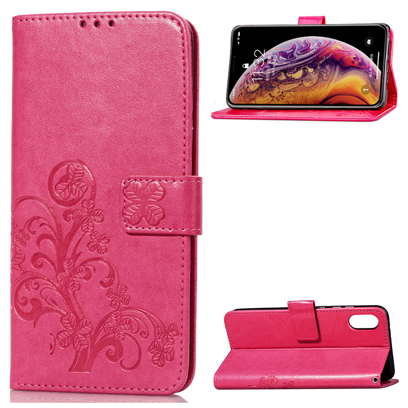 Four Leaf Clovers Pattern Magnetic PU Leather Wallet Case Cover for iPhone XS Max - Rose Red