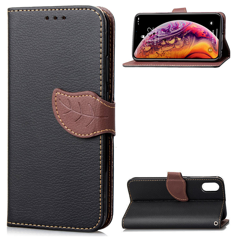 Contrast Colors Leaf Magnetic PU Leather Wallet Stand Case Cover for iPhone XR - Black