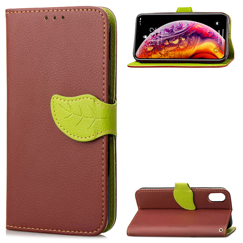 Luxury Leaf Magnetic Wallet Card PU Leather Flip Stand Case Cover for iPhone XS Max - Brown