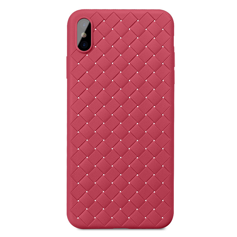 Luxury Woven Texture Soft Flexible TPU Rubber Shockproof Case Back Cover for iPhone XS Max - Red