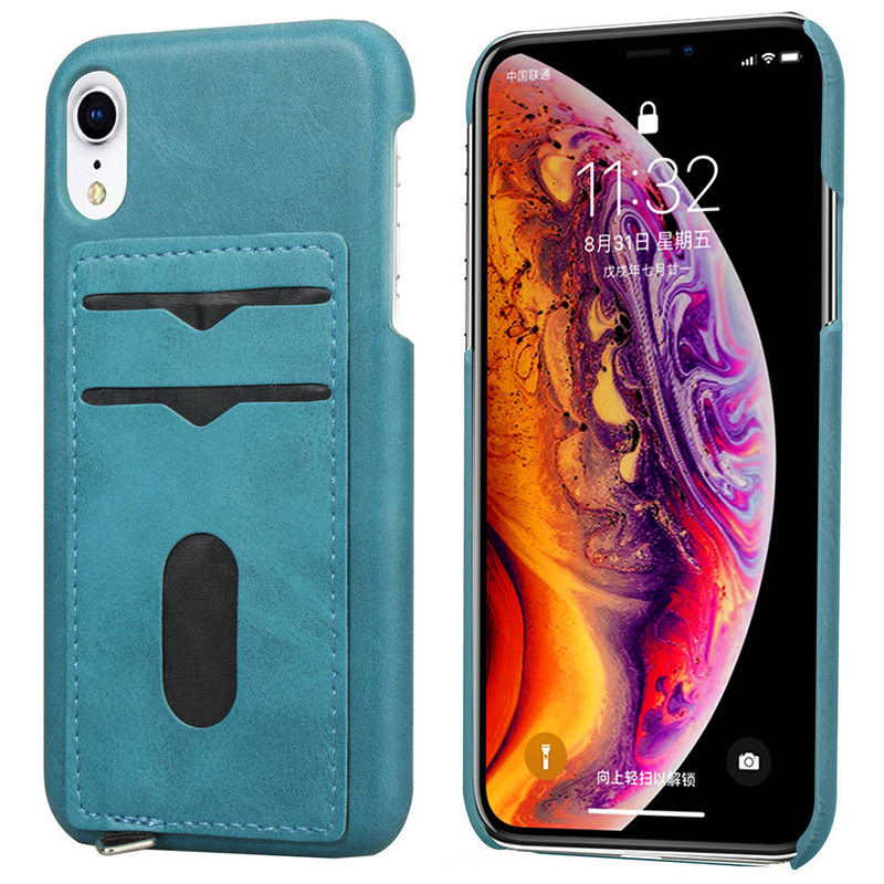 Ultra-Thin Card Slots PU Leather Shockproof Case Back Cover for iPhone XR - Blue
