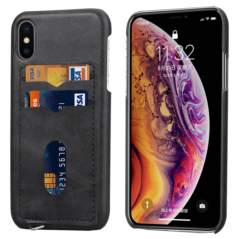 Slim PU Leather Card Slot Holder Back Case Cover for iPhone XS Max - Black