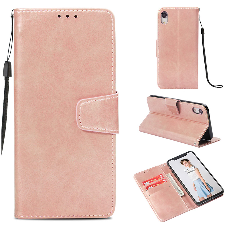 Retro Luxury Flip Stand PU Leather Wallet Case Cover for iPhone XR - Rose Golden