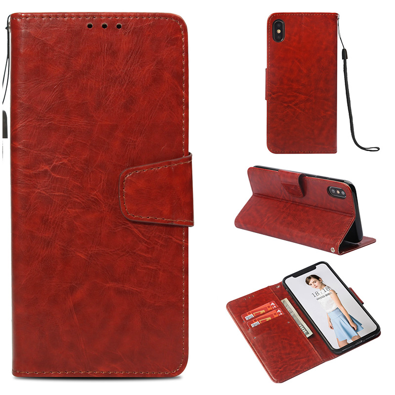 Vintage Flip PU Leather Card Slot Wallet Case Cover for iPhone XS Max - Brown