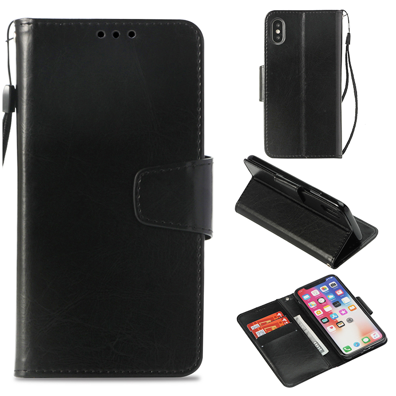 Luxury Flip Retro Style PU Leather Magnetic Wallet Case Cover for iPhone X/XS - Black
