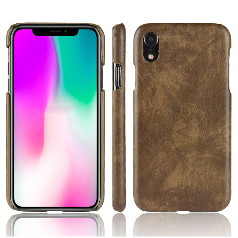 Litchi TPU Texture PC Hard Back Case Shockproof Cover for iPhone XR - Brown