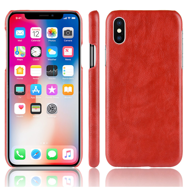 Slim-Fit Litchi Texture PC Case Luxury Shockproof Hard Back Cover for iPhone X/XS - Red