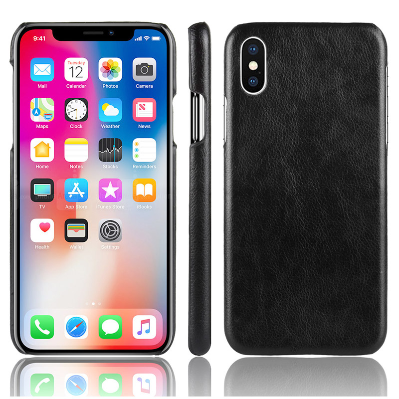 Luxury Matte Litchi Texture Hard PC Case Back Cover for iPhone XS Max - Black