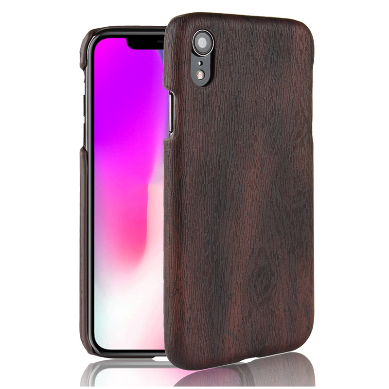 Wood Grain TPU Leather PC Hard Case Back Cover for iPhone XR - Black