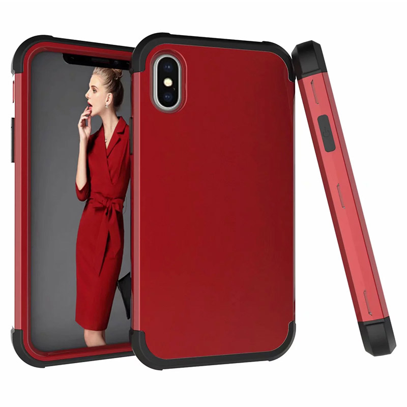 PC+TPU Heavy Shockproof Armor Case Back Cover for iPhone XS Max - Red+Black