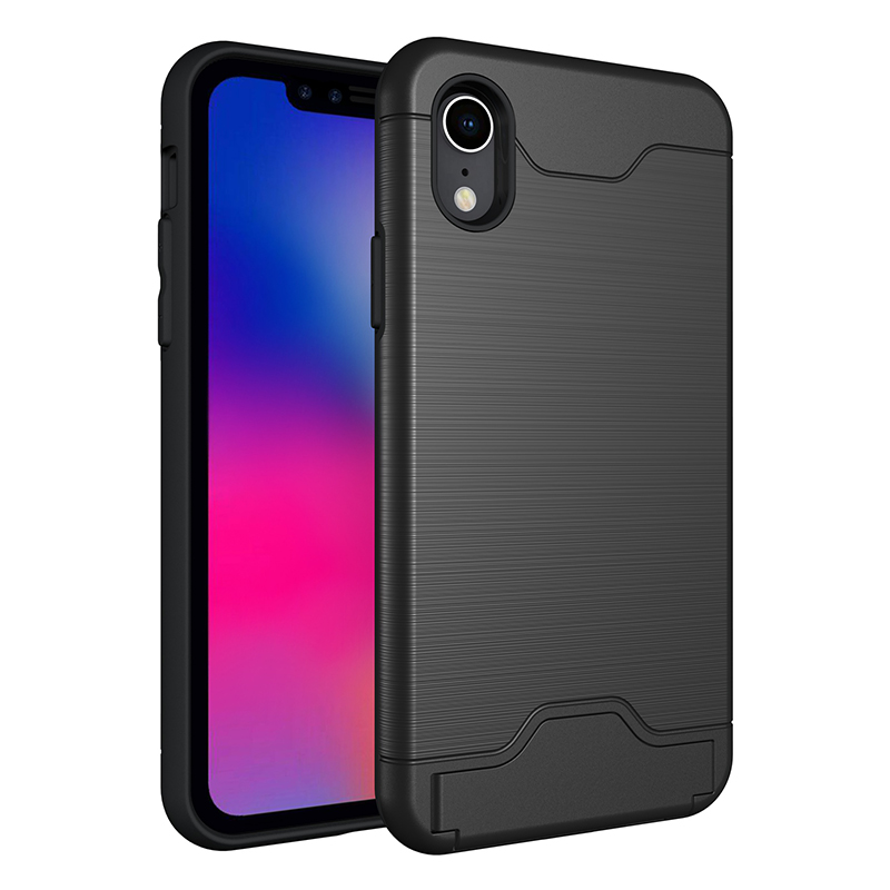 iPhone XR Drawing Brushed Hybrid PC+TPU Shockproof Case Back Cover with Card Slot Stand Function - Black