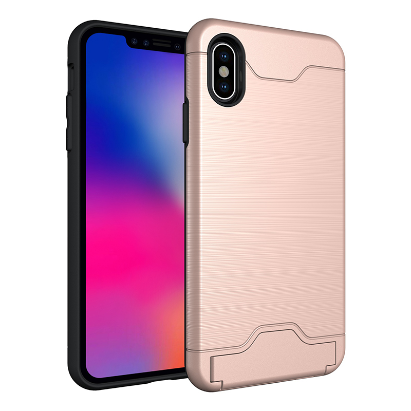 Slim Soft TPU+Hard PC Card Slot Drawing Pattern Case Back Cover for iPhone XS Max - Rose Golden