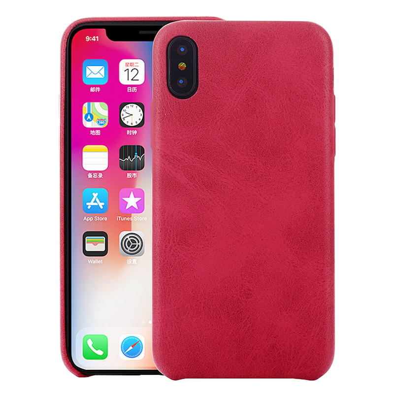 Ultra-Thin Vintage Retro Soft PU Leather Shockproof Case Back Cover for iPhone XS Max - Red