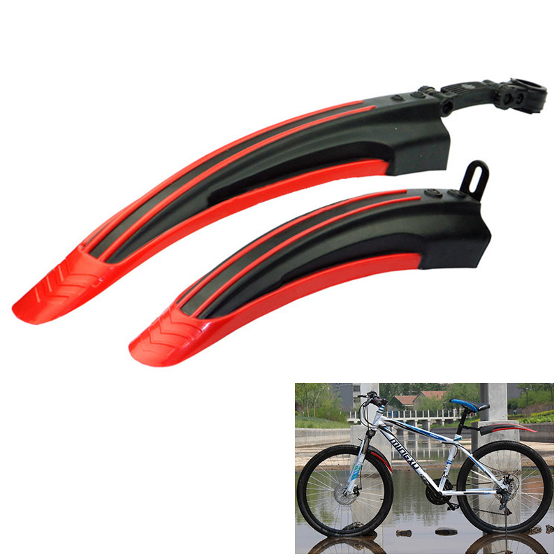 2Pcs Bicycle Cycling Front/Rear Mud Guards Set Mountain Bike Tire Fenders - Red
