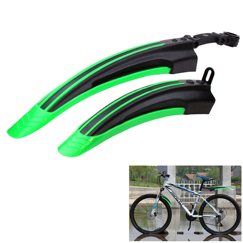 2Pcs Bicycle Cycling Front/Rear Mud Guards Set Mountain Bike Tire Fenders - Green