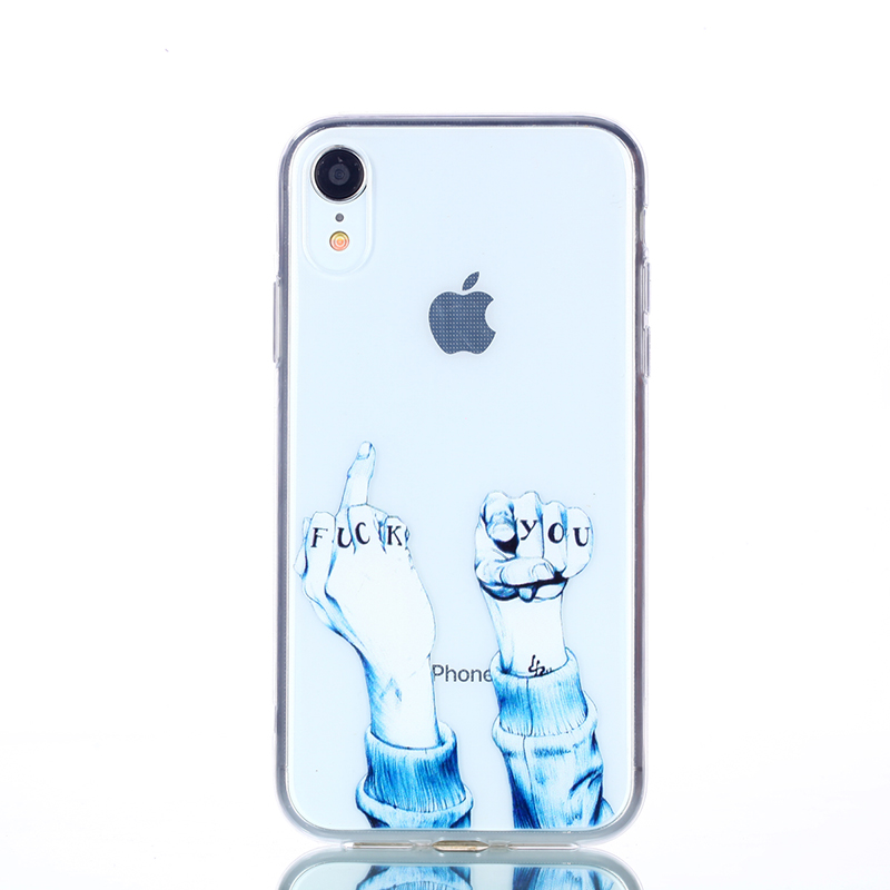 Soft Silicone Rubber Phone Case Pattern Printed TPU Case for iPhone XR - Finger