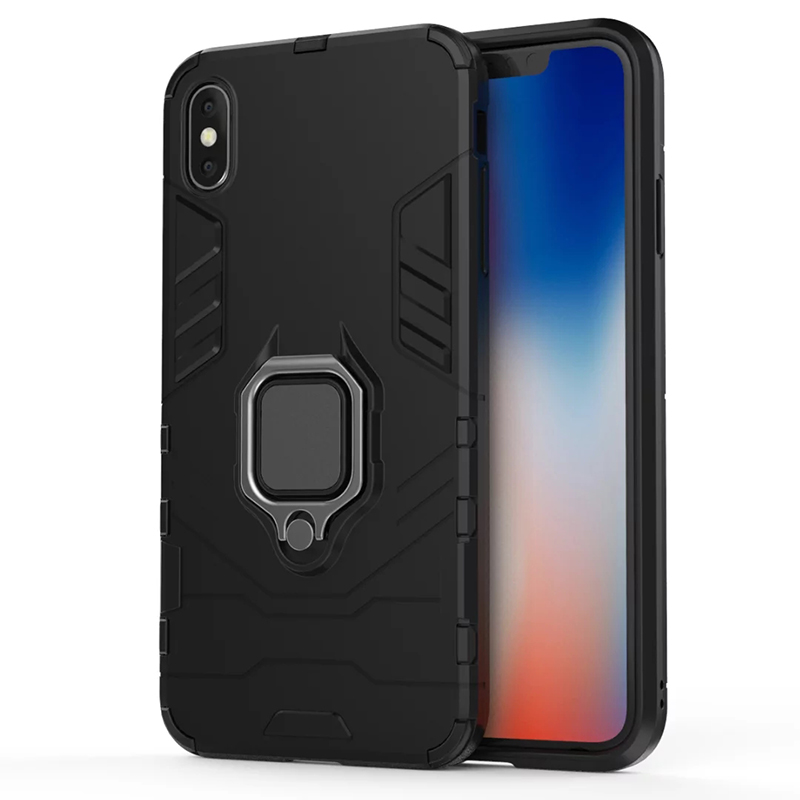 Magnetic Ring Armor Case Shockproof Case Cover with Holder for iPhone X/XS - Black