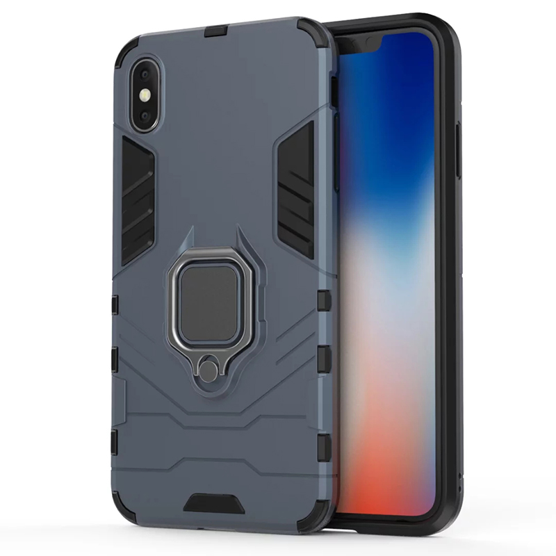 Magnetic Shockproof Armor Case Cover with Ring Holder for iPhone XS MAX - Blue