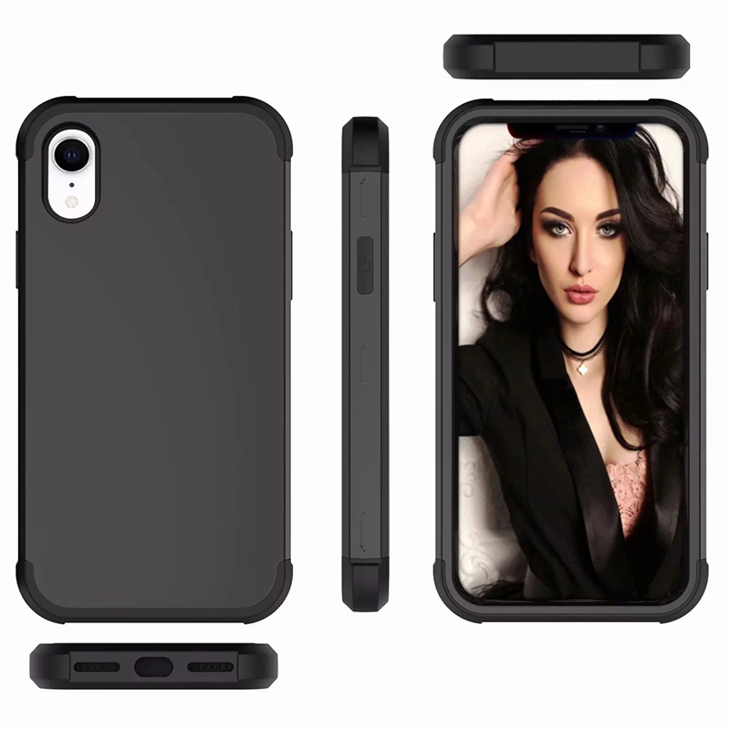 Heavy Armor Phone Case Shockproof Hybrid PC + TPU Cover for iPhone XR - Black
