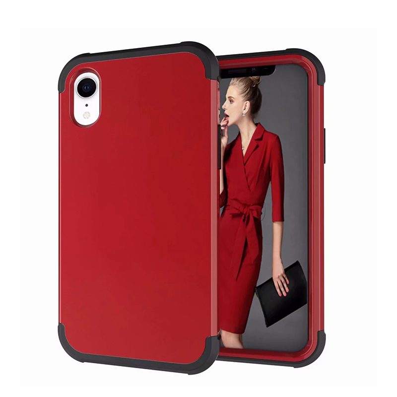 Heavy Armor Phone Case Shockproof Hybrid PC + TPU Cover for iPhone XR - Red+Black