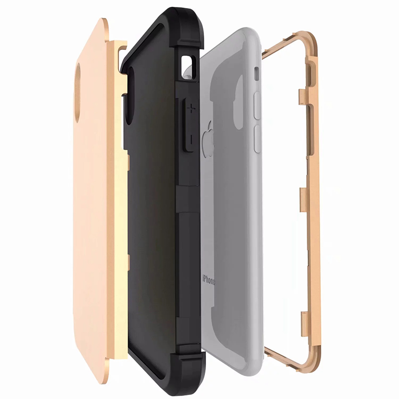 Heavy Armor Phone Case Shockproof Hybrid PC + TPU Cover for iPhone XR - Gold+Black