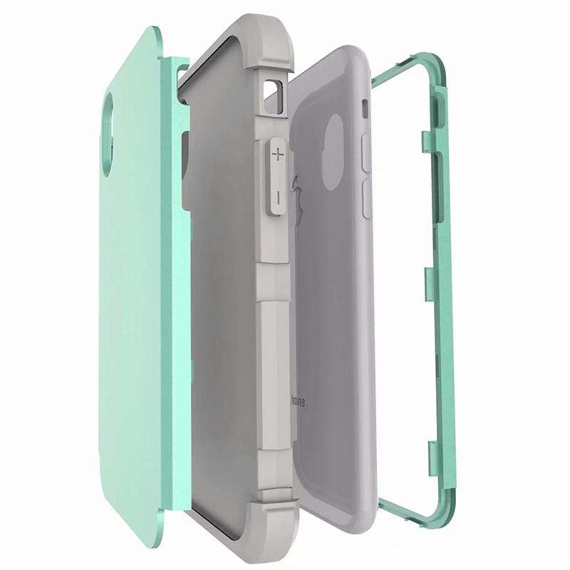Heavy Armor Phone Case Shockproof Hybrid PC + TPU Cover for iPhone XR - Aqua+Grey