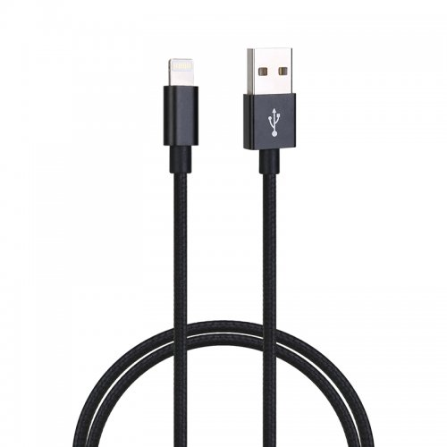 2M High Quality Braided 8pin Charge Cable Chargers for iPhone 7/8/X/XS/XR - Black