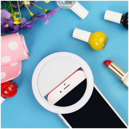 Selfie Light LED Ring Fill Light Camera Photography for iPhone All Smartphones - White