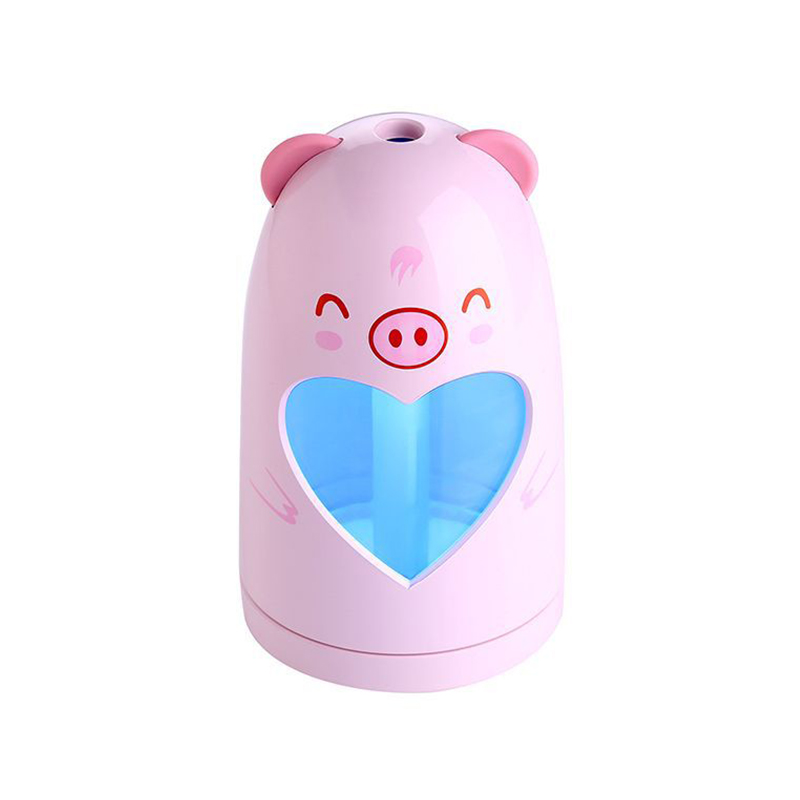 Mini USB Air Humidifier Silent Ultrasonic Diffuser Mist Maker with Colorful Changing LED Light - Pink Pig