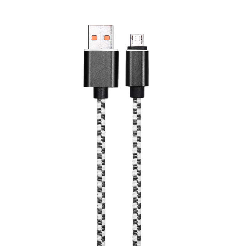 1M Mosaic Braided Micro USB Fast Charge Charging Cable Cord - Black