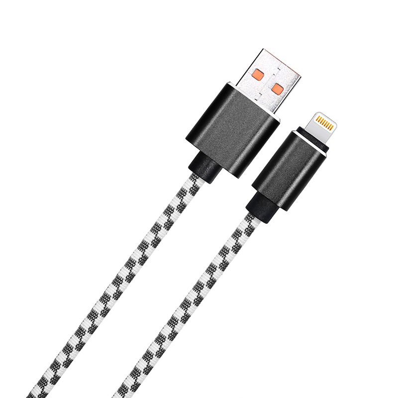 1M Braided Mosaic Lightning Cable iPhone Fast Charging Cord Data Wire - Black