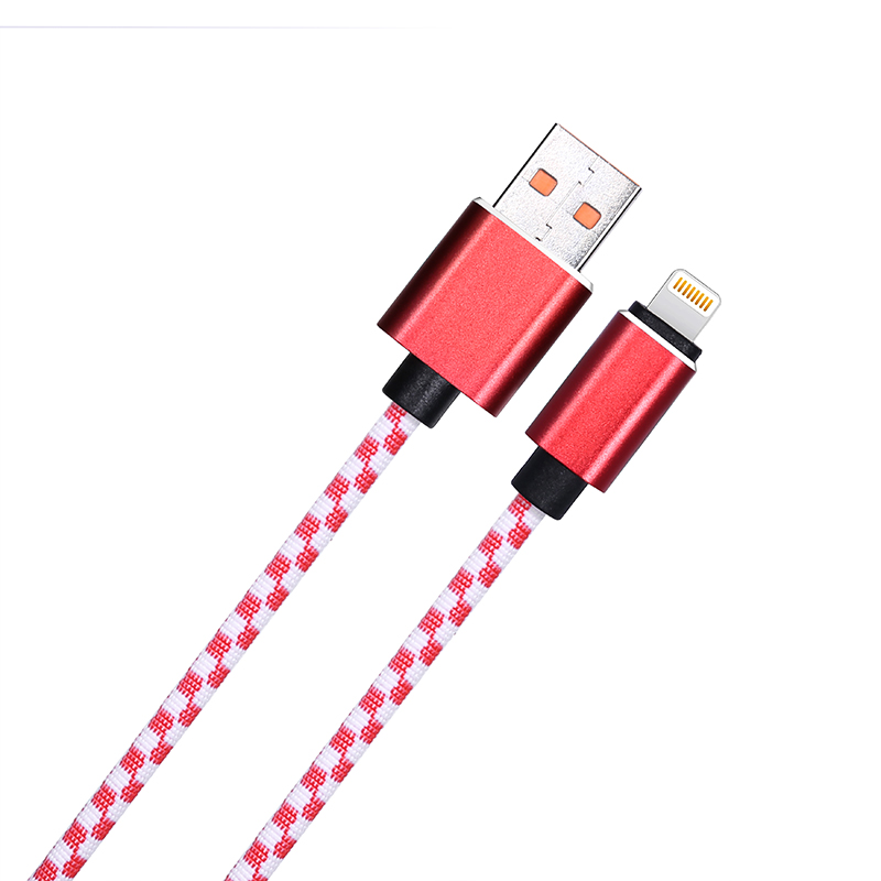 1M Braided Mosaic Lightning Cable iPhone Fast Charging Cord Data Wire - Red