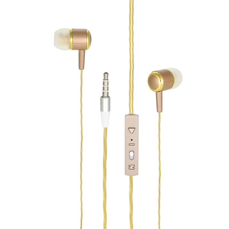 Stylish 3.5mm In-ear Earphone Super Slim EM-10 Stereo Wired Earbuds Headset - Golden
