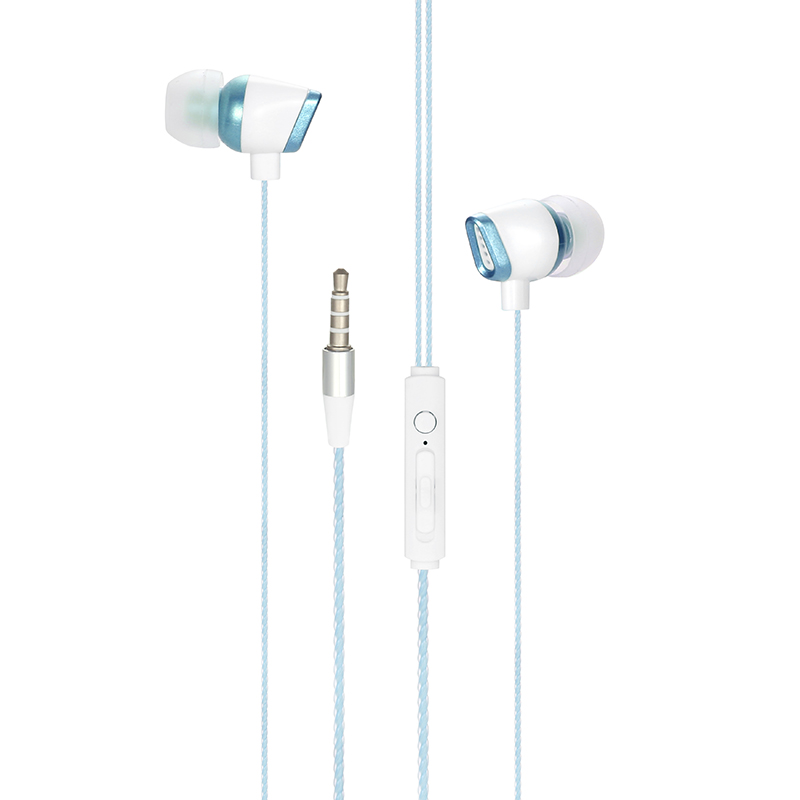 3.5mm Jack Universal Wired Earphone EM-11 Stereo In-ear Earbuds Headphone with Mic - Blue