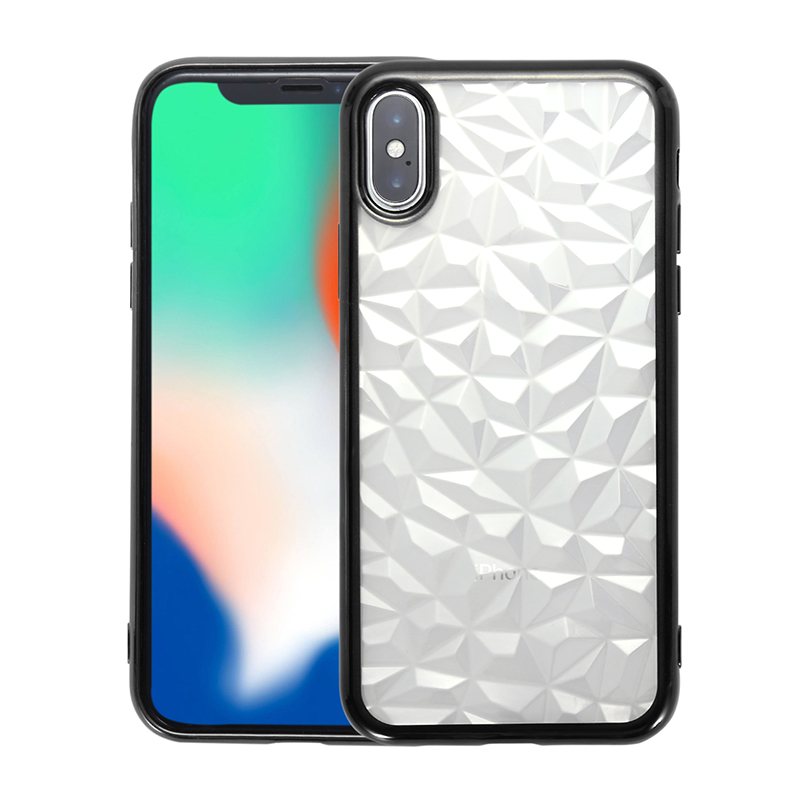 Diamond Prism Crystal Clear Soft TPU Shockproof Slim Case Back Cover for iPhone X/XS - Black