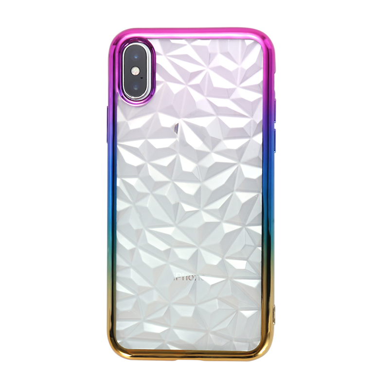 Diamond Prism Clear Back TPU Case Cover with Colored Frame for iPhone X/XS - Purple