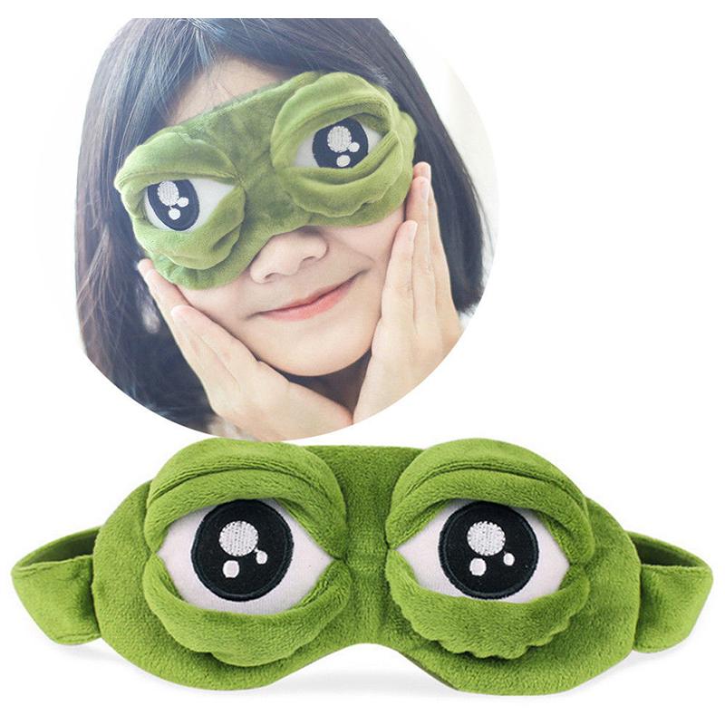 3D Cartoon Sad Frog Eye Cover Sleep Mask Travel Anime Sleeping Rest Eyeshade for Children and Adults