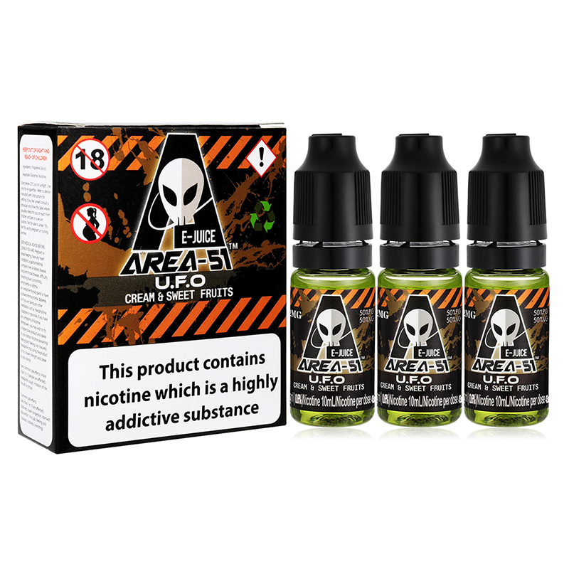 Area 51 Eliquid Vaping Juice-U.F.O. Flavours-6mg-3x10ml