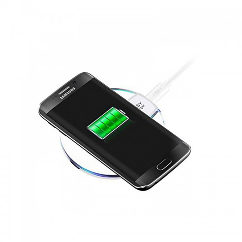 Crystal Clear Qi Wireless Charger Fast Charging Pad with LED Lighting for Cell Phone - White