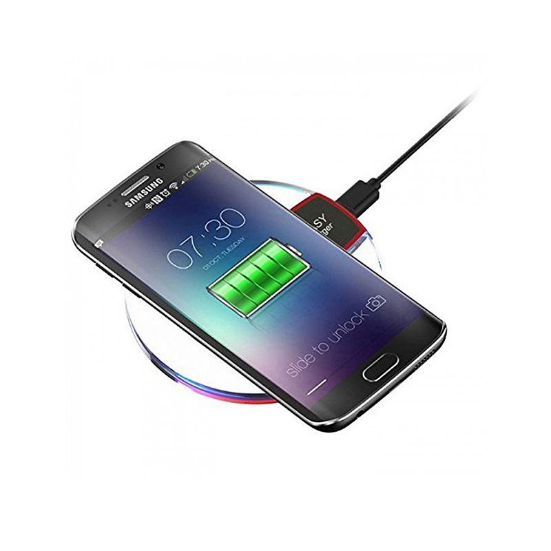 Crystal Clear Qi Wireless Charger Fast Charging Pad with LED Lighting for Cell Phone - Black