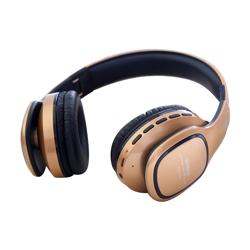 KDK56 Foldable Bluetooth Headset Stereo Wireless Headphone MP3 Player Support TF Card FM Radio - Golden