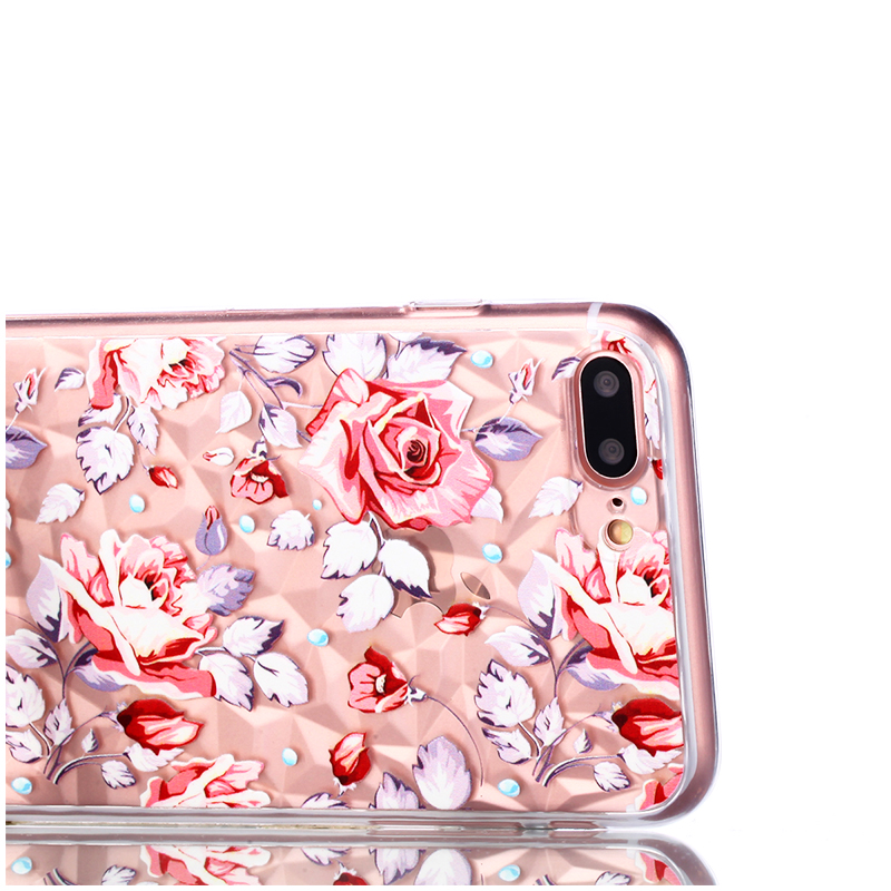 Pattern Diamond Texture Flexible Silicone TPU Case Back Cover for iPhone 7/8 Plus - Broken Powder Flower