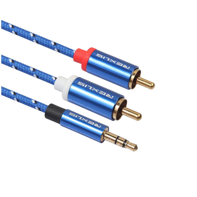 Gold-Plated 3.5mm Male to 2RCA Male Cable Stereo Audio Jack Aux Cord - 0.5M